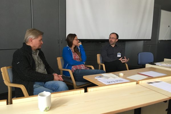 "Symposium organizers Heikki Hämäläinen and Susanne Jaeggi together with our keynote speaker Kirk Erickson at the final panel discussion ""Aging, Plasticity, Training – What are the Prospects?"